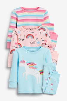 3 Pack Unicorn Snuggle Pyjamas (9mths-8yrs)