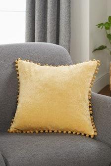 Honey Yellow Soft Velour Pom Edge Square Cushion