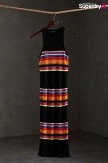 Superdry Black Stripe Midi Dress