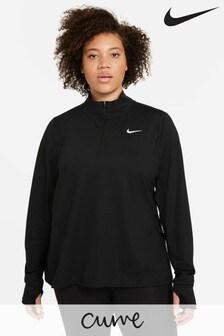 Nike Curve Element Laufshirt mit halbem Reißverschluss