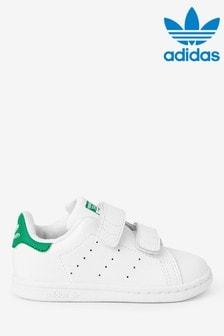Бело-зеленые кроссовки для малышей adidas Originals Stan Smith