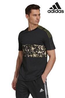 adidas Camo Tiro T-Shirt, schwarz