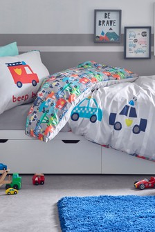 Beep Beep Cars Reversible Duvet Cover and Pillowcase Set