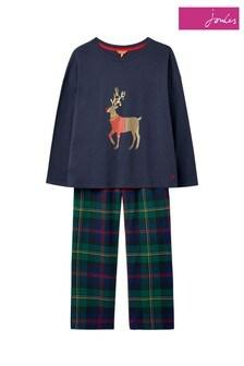 Joules Green Goodnight Christmas Woven Pyjama Set