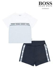 Ensemble BOSS Baby t-shirt et short bleu clair et bleu marine avec bande à logo
