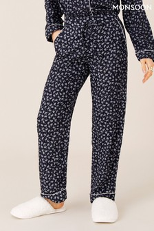Monsoon Blue Paisley And Pinstripe Pyjama Bottoms