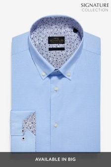 織紋彈力特色滾邊裝飾鈕釦襯衫