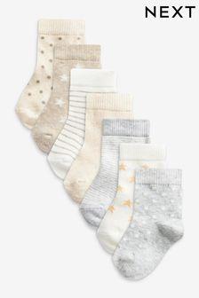 7 Pack Cotton Rich Socks (Newborn)