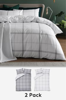 2 Pack Reversible Versatile Check Duvet Cover and Pillowcase Set