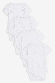 Набор из 4 боди с короткими рукавами и принтом из органического хлопка GOTS (0-3 года)