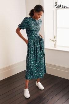 Boden Green Flora Jersey Puff Sleeve Dress
