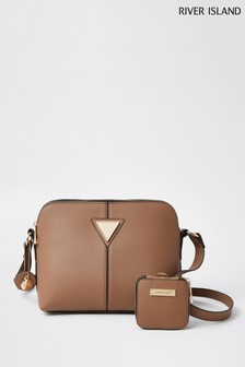 River Island Beige Double Compartment Pouch Bag