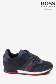 BOSS Navy Logo Trainers