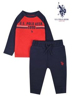 U.S. Polo Assn. Contrast Raglan Graphic T-Shirt And Jogger Set