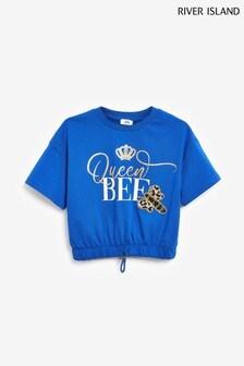 River Island Blue Bright Queen Bee Cinch T-Shirt