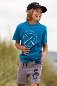 Animal T-Shirt Waveride mit Grafik, blau-meliert