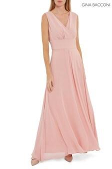 Розовое шифоновое платье макси Gina BacconiChristiana