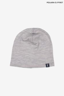 Polarn O. Pyret灰色柔軟Rws美麗諾羊毛保暖無邊便帽