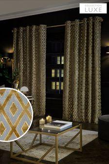 Золотистые шторы с ромбовидным узором и люверсами Collection Luxe