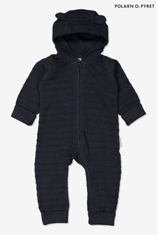 Polarn O. Pyret Blue Organic Cotton Knitted Onesie