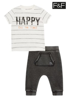 F&F Multi White Happy Stripe T-Shirt And Jogger Set