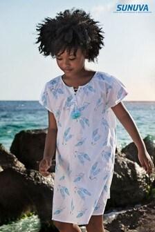 Sunuva Kaftan-Strandkleid mit Federmuster, Weiß
