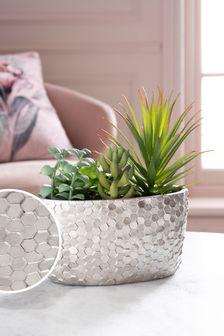 Artificial Succulents Mix In Silver Pot