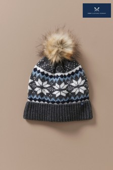 Crew Clothing Grey Fairisle Pattern Hat