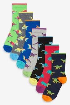 Pack de 7 pares de calcetines con diseño de dinosaurios y alto contenido en algodón (Niño mayor)