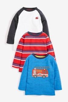 3 Pack Jersey Appliqué Fire Engine T-Shirts (3 мес.-7 лет)