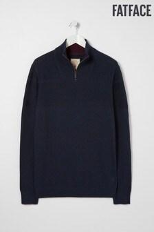 FatFace kék rozs pamut készpénz félnyakú jumper