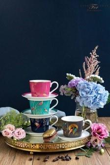 Set of 4 Portmeirion Sara Miller Espresso Cups & Saucers