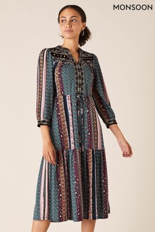 Monsoon Blue Geo Print Sustainable Midi Dress