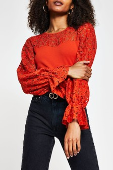 River Island Red Blocked Lace Puff Sleeve Top