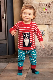 Frugi GOTS Organic Comfy Blue Tractors And Sheepdogs Pull-Up Trousers