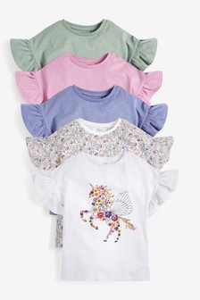 5 Pack Pretty Sequin Unicorn T-Shirts (3-16yrs)