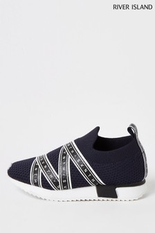 River Island Navy Seventh Knitted Runner Trainers