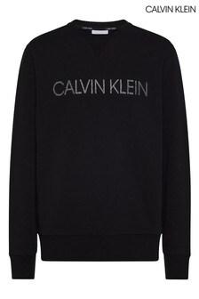 Calvin Klein ブラック同系色刺繍入りスウェットシャツ