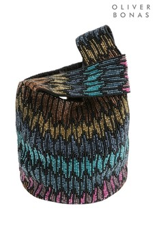 Oliver BonasBeutel-Clutch mit perlenbesticktem Chevron-Design in Regenbogenfarben, Schwarz