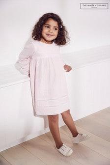 A fehér cég rózsaszín gyűrődés pamut csipke részlet ruha