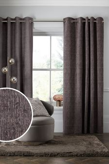 Truffle Brown Heavyweight Chenille Eyelet Lined Curtains