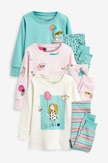 ガールズ キャラクター スナッグルパジャマ 3 枚組 (9 か月~8 歳)