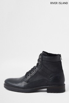 River Island Black Distressed Mixed Material Boots