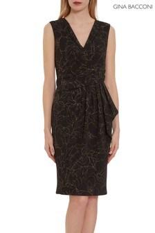 Gina Bacconi Black Goretti Floral Metallic Crepe Dress