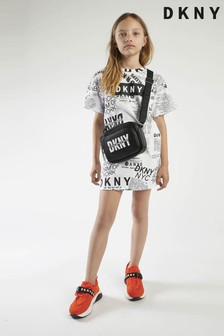DKNY T-Shirt-Kleid mit Grafikprint, Weiß/Schwarz