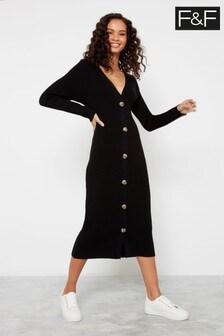 F&F Black Rib Button Dress