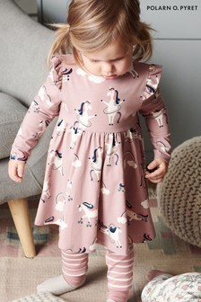Polarn O. Pyret Kleid aus Bio-Baumwolle mit Einhornprint, Violett