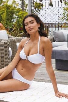 Trägerloses, strukturiertes Bikini-Top mit Besatz