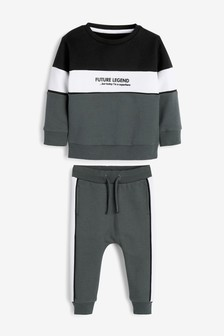 Colourblock Crew Neck Sweater And Joggers Set (3mths-7yrs)