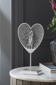 Silver Couple In Heart Ornament